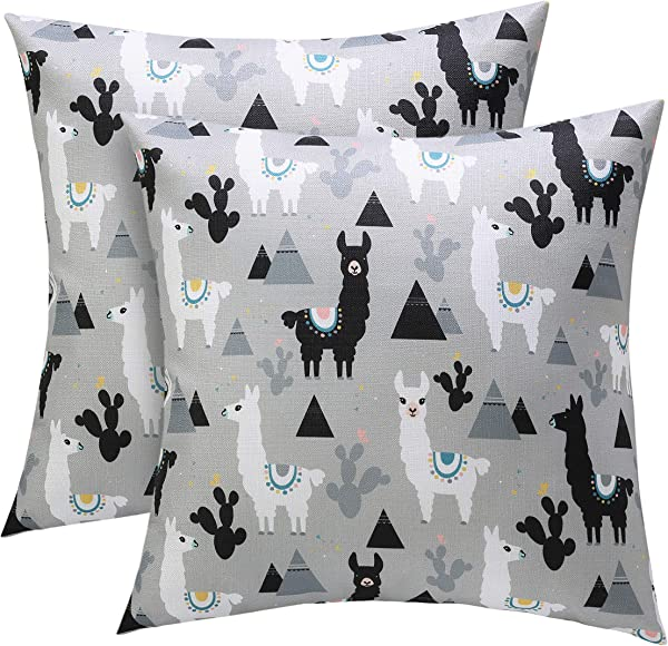Treeable Alpaca Throw Pillow Covers Couch Pillows Decorative Throw Pillows Decorative Pillow Covers 18 X18 Inch Pack Of 2