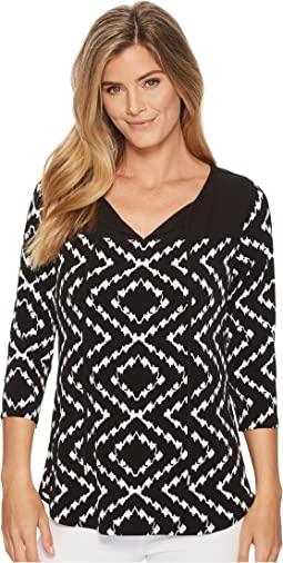 Tribal - Pack and Go Travel Jersey Printed 3/4 Sleeve Top with Keyhole