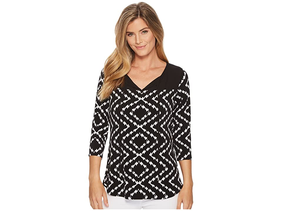 Tribal Pack and Go Travel Jersey Printed 3/4 Sleeve Top with Keyhole (Night) Women