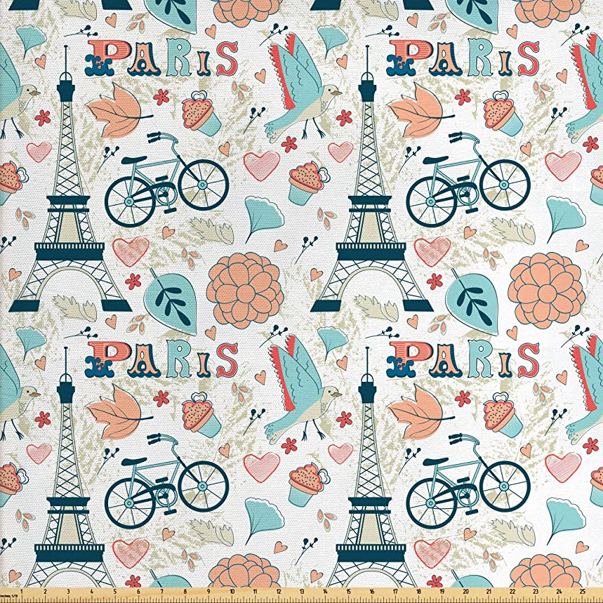 Ambesonne Paris Fabric by The Yard, Dove Cupcake Eiffel Tower Flowers Falling Leaves Love Grungy Autumn in France Theme, Decorative Fabric for Upholstery and Home Accents, 1 Yard, Multicolor