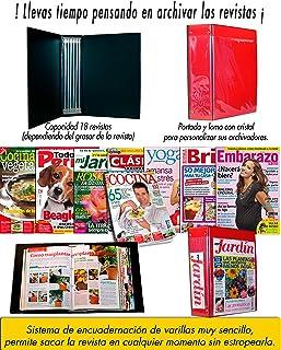 Archivador de revistas Sistema de encuadernación de varillas muy sencillo, permite sacar la revista en cualquier momento sin estropearla o consultarla sin tener que sacarla tipo libro.