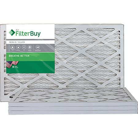 FilterBuy AFB MERV 8 12x24x1 Pleated AC Furnace Air Filter, (Pack of 4 Filters), 12x24x1 - Silver