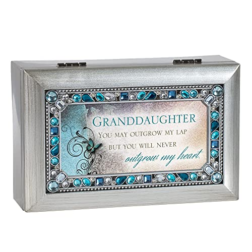 Granddaughter Jeweled Silver Finish Jewelry Music Box