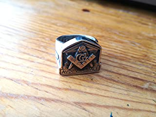 Avdi Vide Tace Masonic Ring - United Grand Lodge of England | Temple of Solomon Ring | Boaz Jachin ring | Masonic Pillars Ring | Sterling Silver 925, Yellow, White, Rose Gold | Handmade| All sizes