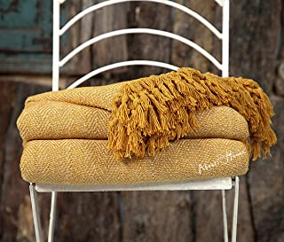 About Home Premium Herringbone Two Tone Throw Blanket with Fringes 100% Cotton,Execellent Quality,Perfect for Sofa Couch,Bedroom and Settee Cover Mustard 50x60 inches