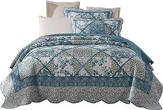 Tache Blue Patchwork Quilt Set - Petal Dance - Cotton Floral Bedspread Set - 2 Pieces - Twin