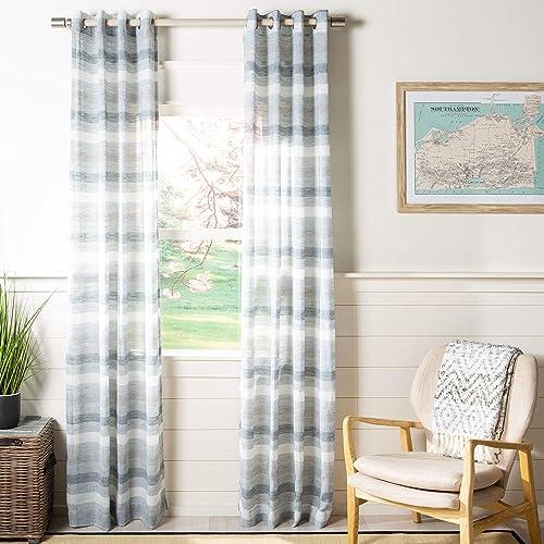 "new arrival Safavieh Home Curtain Liberty Grey Semi-Sheer 52"" x 84"" Grommet lowest discount Drape Panel Window Treatment, 84"" x 52"" online"