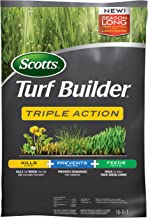 Scotts Turf Builder Triple Action, 50 lb. - Kills Weeds like Dandelions and Clover, Prevents Crabgrass for 4 Months, Feeds and Fertilizes to Build Thick Green Lawns - Covers up to 10,000 sq. ft.