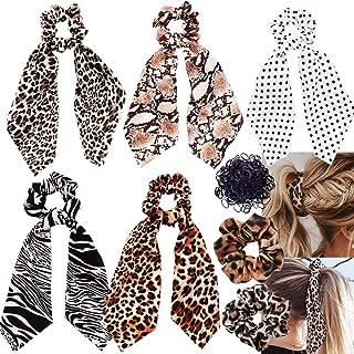 6 Pack Leopard Print Big & Long Scrunchie Hair Scarf, Polka Dot Snake Skin, Ribbon Chiffon Strong Elastic Hair Bands Rope Scrunchy, Bun Hair Ties Bobbles, Scarves for Women Girls, Bow Ponytail Holder