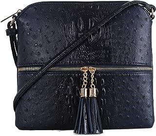 SG SUGU Crocodile Pattern Lightweight Medium Crossbody Bag with Tassel for Women