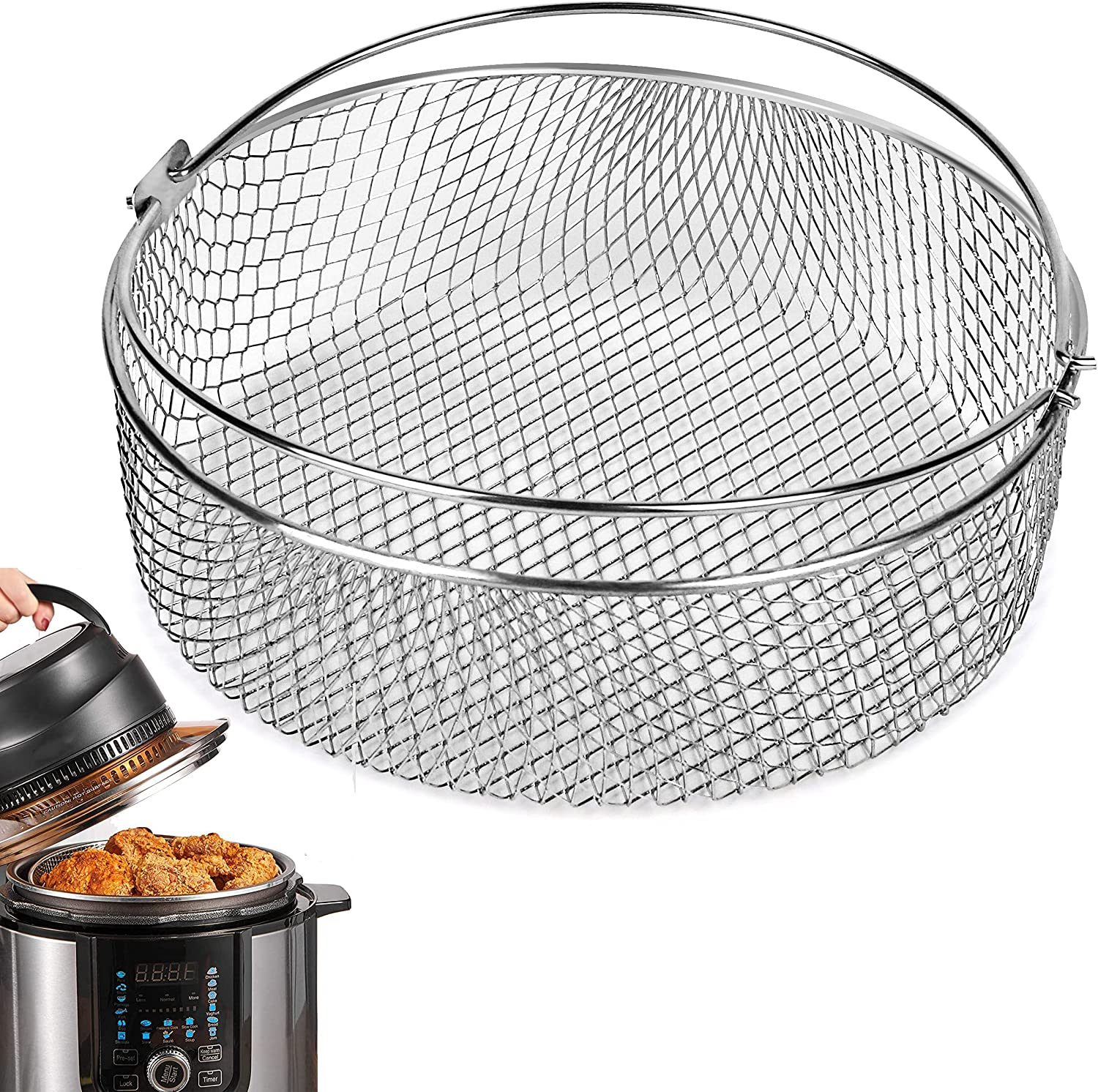 Air Fryer Basket for Instant Pot 6, 8Qt,Mesh Steamer Basket for Ninja Foodi 6.5, 8Qt,Air Fryer Grill Crisper Basket,Air Fryer Replacement Crisping Basket with Handle,Accessories for Air fryer