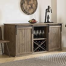 Wine Enthusiast Mesa Sliding Barn Door Credenza - Rustic Reclaimed Wood Wine Bar Buffet Cabinet