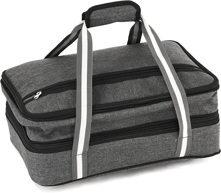 Insulated Expandable Double Casserole Carrier And Lasagna Holder For Picnic Potluck Beach Day Trip Camping Hiking Hot And Cold Thermal Bag In Gray Tote Can Hold 11 X 15 Or 9 X 13 Baking Dish