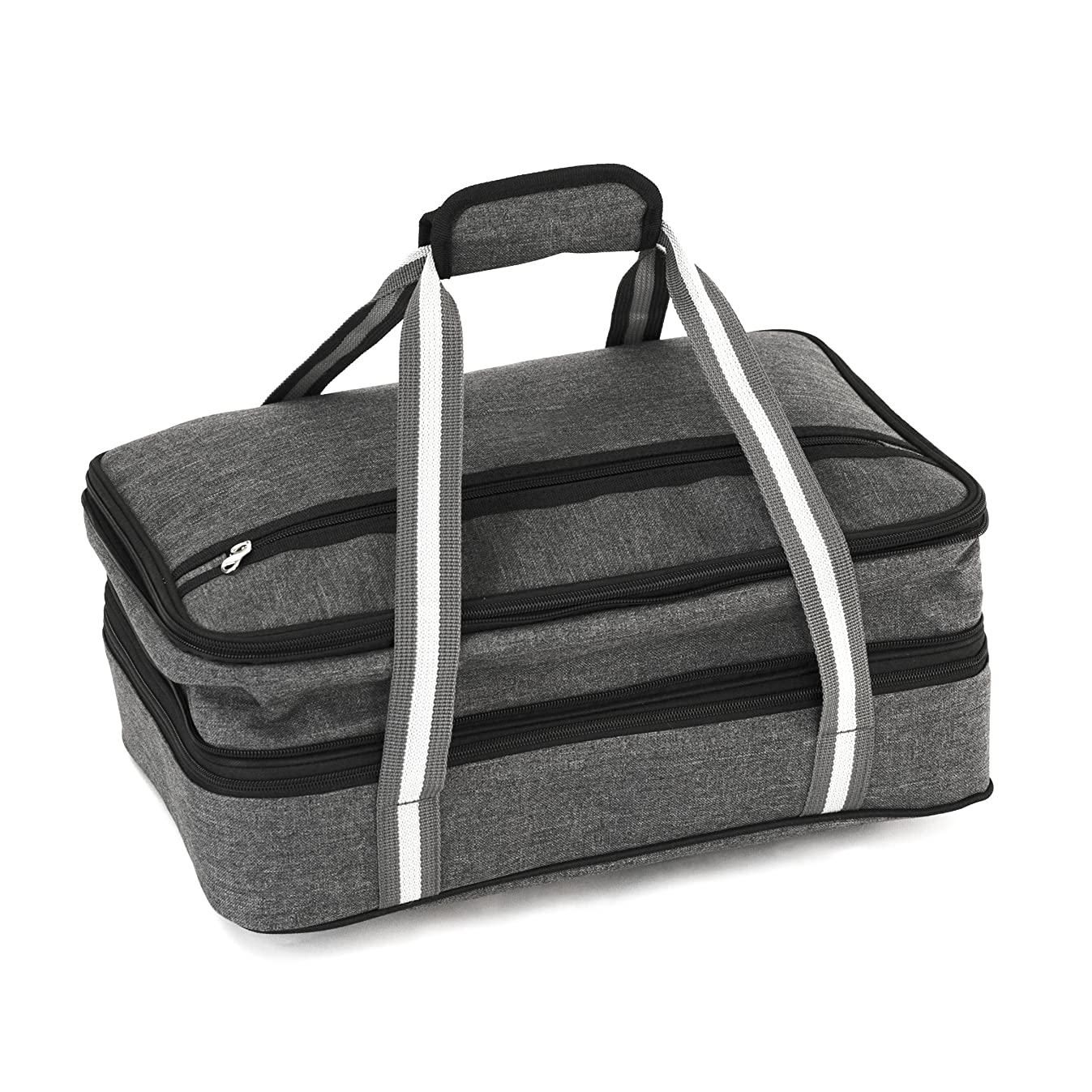 Insulated Expandable Double Casserole Carrier and Lasagna Holder for Picnic Potluck Beach Day Trip Camping Hiking - Hot and Cold Thermal Bag in Gray – Tote can hold 11 x 15 or 9 x 13 baking dish