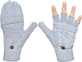 Beurlike Women's Winter Gloves Warm Wool Knitted Convertible Fingerless Mittens
