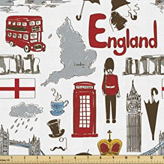 Ambesonne London Fabric by The Yard, Fun Colorful Sketch Royal Guard Map Rain Famous Country Landmarks and Stonehenge, Dec...