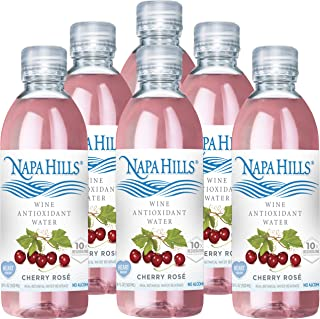 Napa Hills Wine Antioxidant Water - Cherry Flavored Wine Water, Non-Alcoholic Resveratrol Enriched Drink - Cherry Rose 6 Pack - No Wine Taste, No Carbs, No Calories, Sugar Free