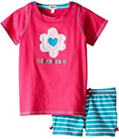 Hatley Kids Flower Hearts Button Tee & Shorts Set (Toddler/Little Kids/Big Kids)