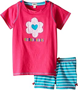 Flower Hearts Button Tee & Shorts Set (Toddler/Little Kids/Big Kids)
