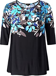 Chicwe Women's Plus Size Floral Top Tunic with Raglan Sleeves 1X-4X