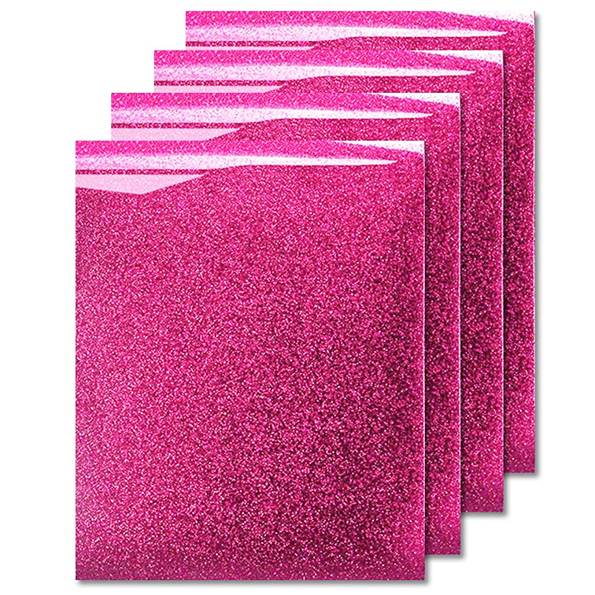 MiPremium Glitter Pink Heat Transfer Vinyl, Glitter Iron On Vinyl (Pack of 4 Sheets), for T Shirts Sports Clothing Other Garments & Fabrics, Easy to Cut Press & Weed Pink Glitter Vinyl (Pink)
