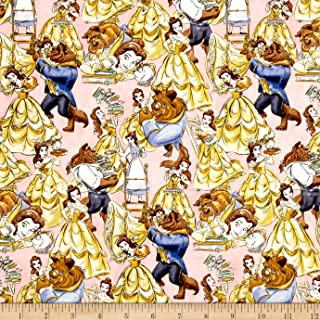 E. E. Schenck Disney Beauty Belle and The Beast Packed Multi Fabric by The Yard, Multicolor