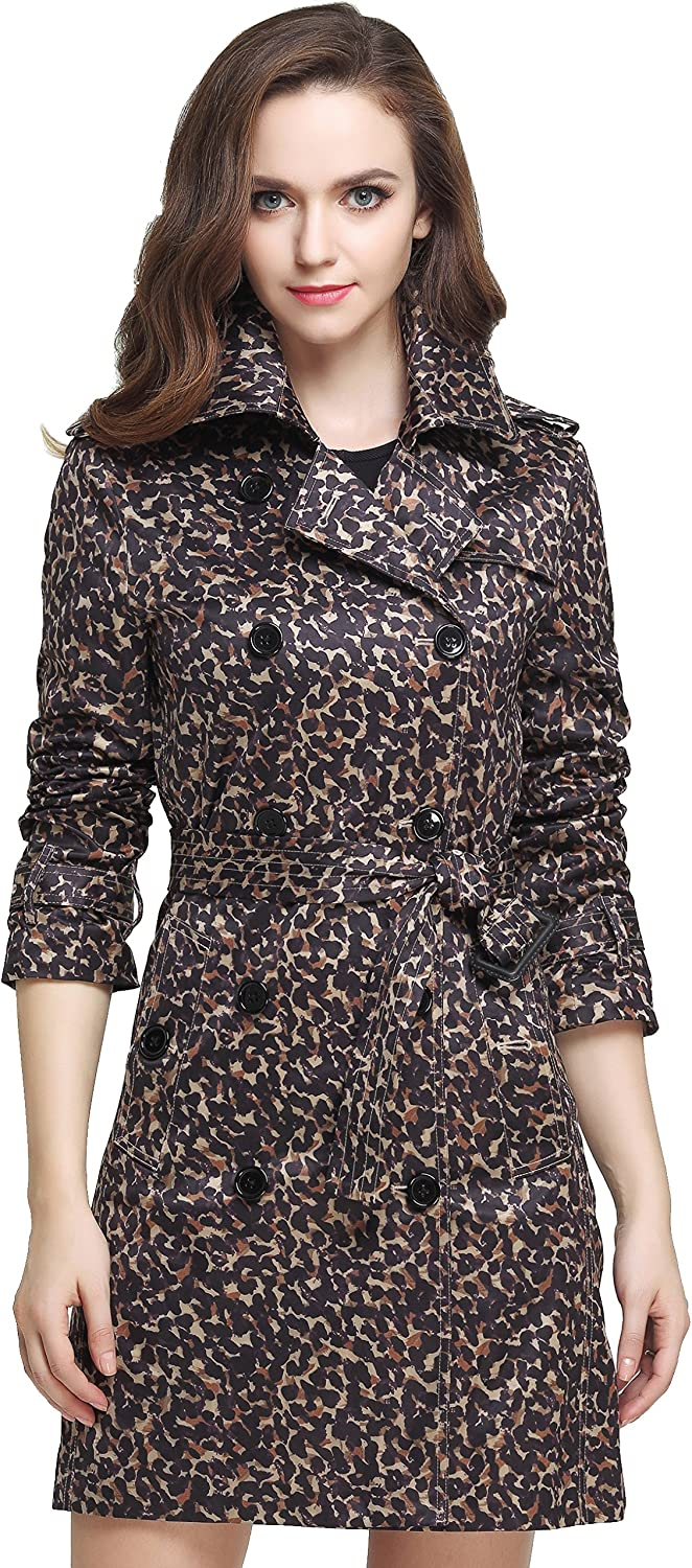 Camii Mia Slim Fit Leopard Double Breasted Trench Coat