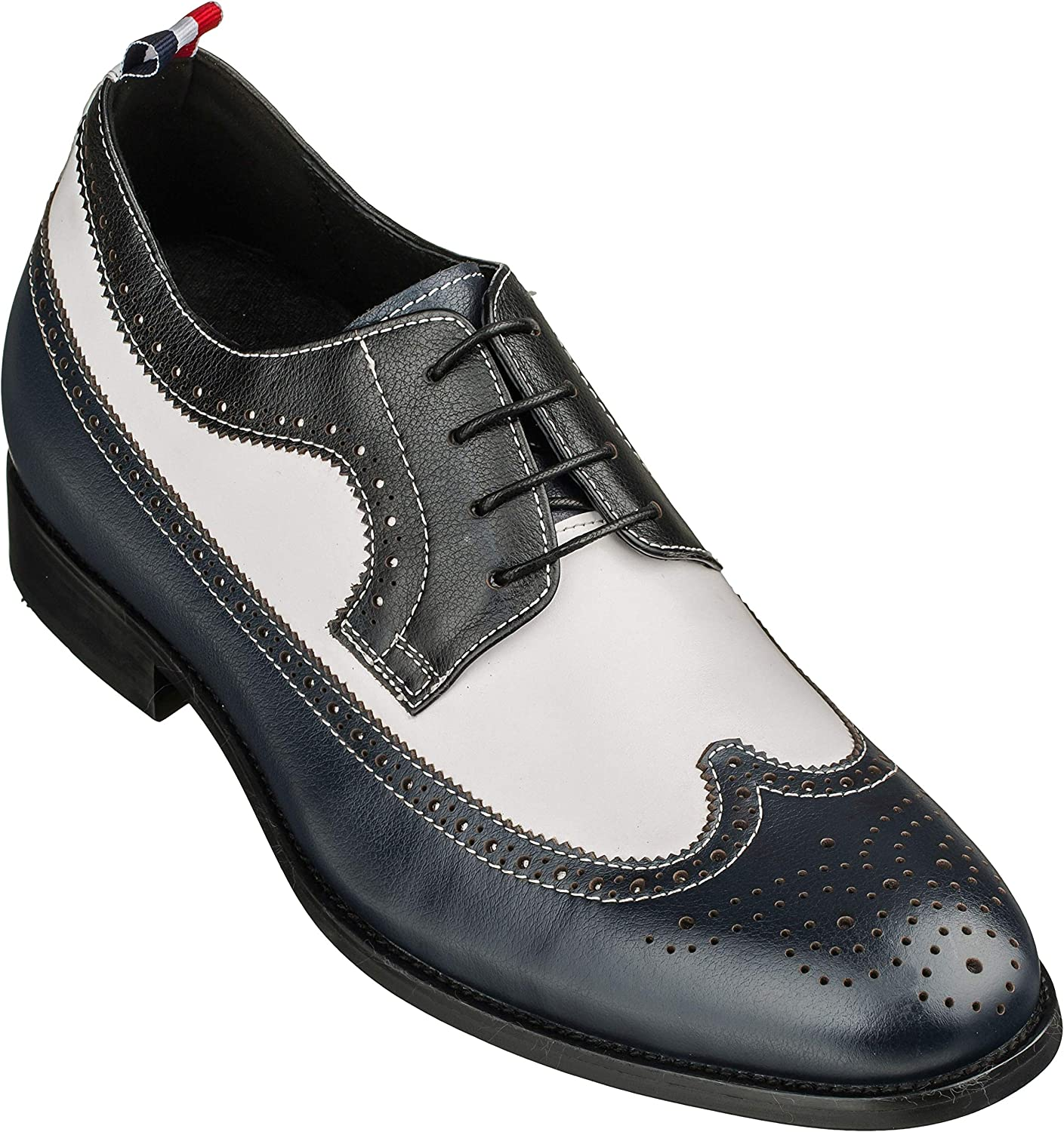 CALTO Men's Invisible Height Increasing Wh Elevator SALENEW very half popular Navy Shoes -
