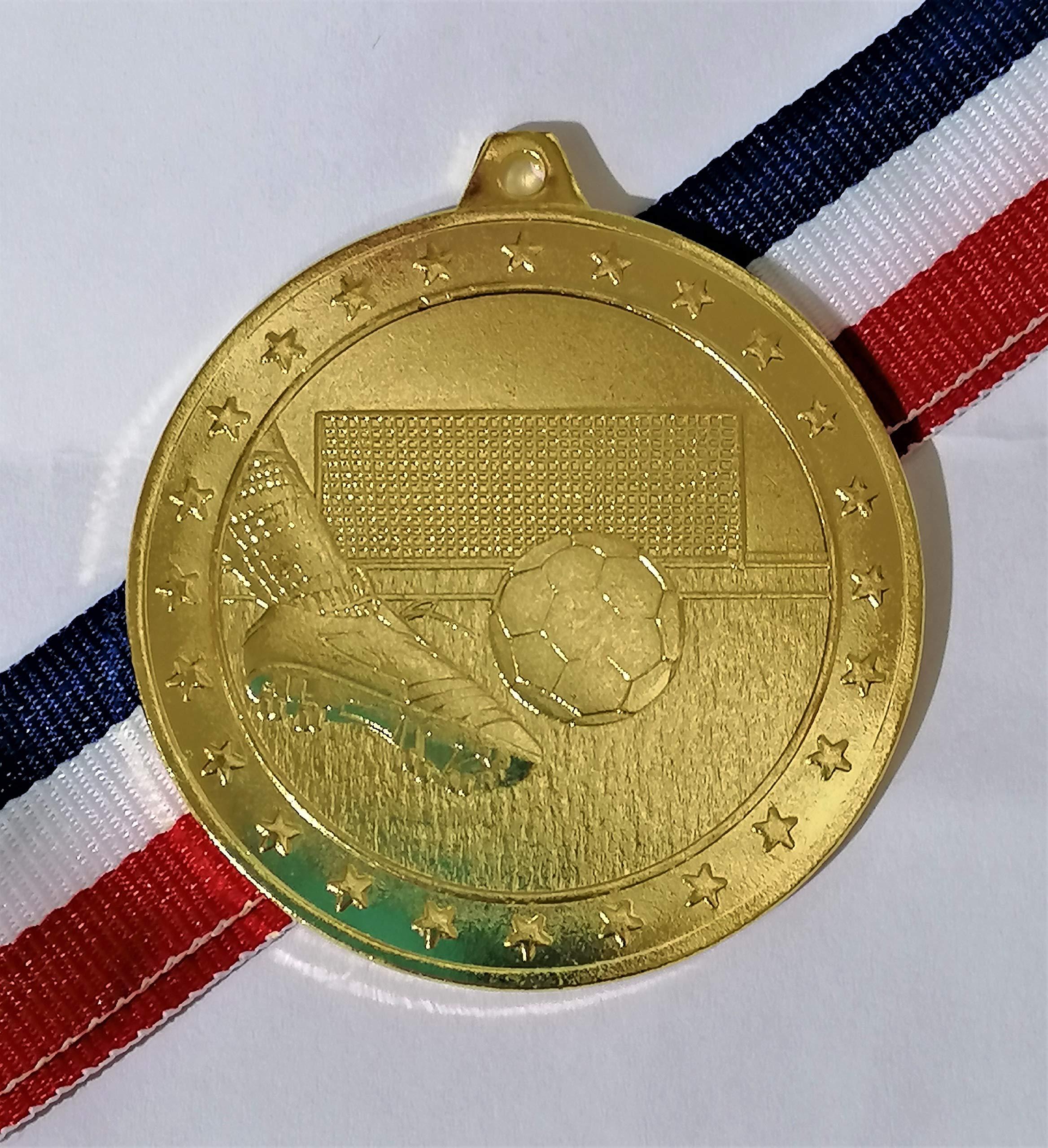 TROPHY 20 x 50 mm de diámetro de Color Oro fútbol medallas con Libre Medalla Cintas: Amazon.es: Deportes y aire libre