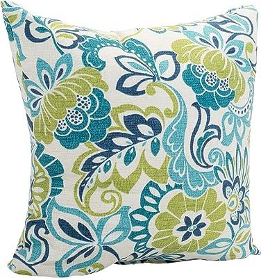 Zoe Mallard Blue and Green Floral 16 x 16 Indoor Outdoor Throw Pillow