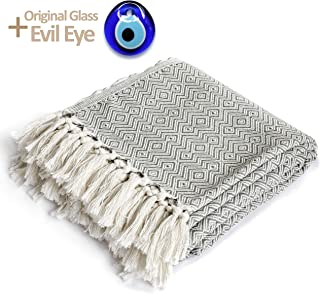Peshtemania Throw Blanket with Fringe 100% Cotton Lightweight for Chair, Couch, Boho Farmhouse Rustic Decor. Turkish Towel Ultra-Soft + Evil Eye Beach Bath Spa Sauna Gym Yoga Picnic