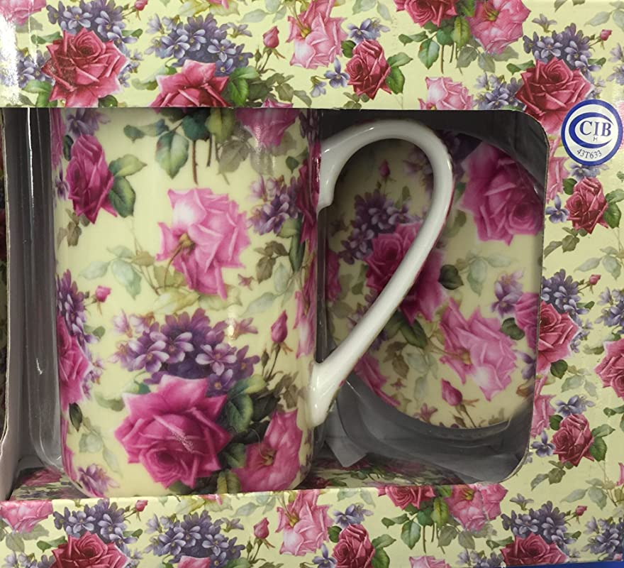 Kent Pottery 2PC Mug With Matching Lid Pink Rose