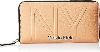محفظة كبيرة مع سحاب يدور حولها بطباعة NY من كالفن كلاين، لون بني، 22 سم، K60K606066