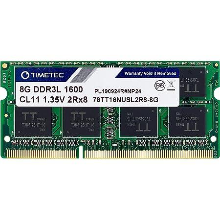 Timetec Hynix IC 8GB DDR3L / DDR3 1600MHz PC3L-12800 / PC3-12800 Non-ECC Unbuffered 1.35V / 1.5V CL11 2Rx8 Dual Rank 204 Pin SODIMM Laptop Notebook Computer Memory RAM Module Upgrade (8GB)