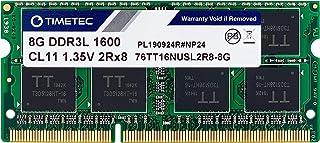 Timetec Hynix IC 8GB DDR3L 1600MHz PC3L-12800 Non ECC Unbuffered 1.35V CL11 2Rx8 Dual Rank 204 Pin SODIMM Laptop Notebook ...