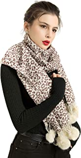 REEMONDE Womens Leopard Print Cashmere Blend Super Soft Large Pashmina Shawl Wrap Scarf With Faux Fur Ball Fringes