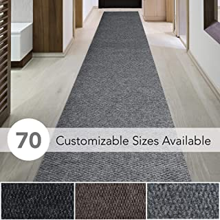 iCustomRug Spartan Weather Warrior Duty Indoor/Outdoor Utility Berber Loop Carpet Runner, Area Rugs, 3ft,4ft,6ft Widths 70 Custom Sizes with Natural Non-Slip Rubber Backing 4' X 9' in Grey