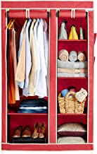 Amazon Brand - Solimo 2-Door Foldable Wardrobe, 6 Racks, Maroon