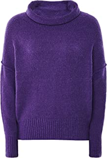 Grizas Women's Wool Blend Oversized Cowl Neck Jumper Purple