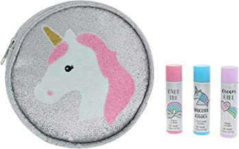 3pc Lip Balm Party Pack Set in Printed Zippered PU White Combo No Sz