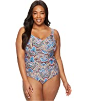 Jantzen - Plus Size Vibrant Paisley Draped Over the Shoulder Surplice One-Piece
