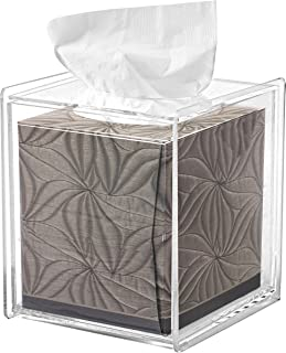 MyGift Square Clear Acrylic Bathroom Tissue Box Cover and Napkin Dispenser Holder