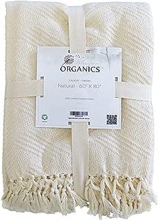 Whisper Organics Organic Cotton Throw Blanket GOTS Certified - Diamond Jacquard Weave (60x80, Natural)