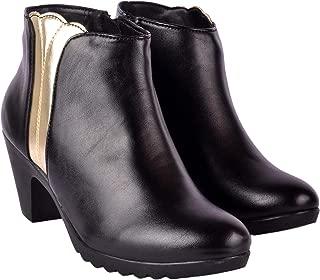 Shoenya Black/Golden Ladies Faux Leather Ankle Length Boots (Black & Golden)