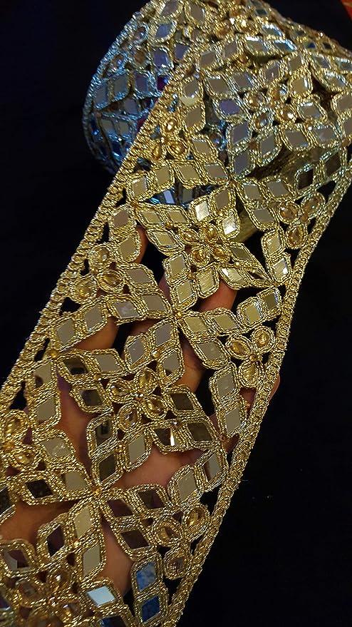 Black Trim by The Yard Costume Trim Decorative Ribbon Metallic Ribbon Beaded Trim Gold Kundan Lace Crafting Sewing Trimmings Border