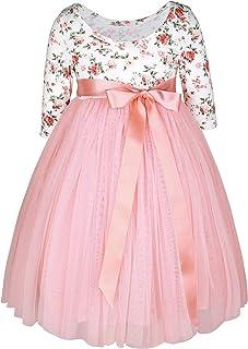 Flofallzique Vintage Floral Long Sleeve Maxi Girls Easter Dress V Back for 1-12 Years Old