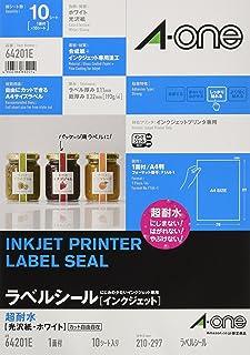 エーワン ラベルシール インクジェット 超耐水 光沢紙 A4 ノーカット 10シート 64201E