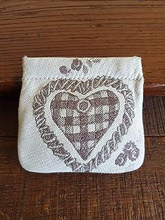 Portamonete con cuore fatto a mano, BEIGE - marrone pastello, idea regalo, San Valentino, Anniversario, Matrimonio, Bombon...