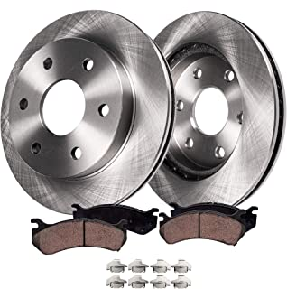 Detroit Axle - Complete FRONT Brake Kit Rotors & Ceramic Brake Kit Pads w/Clips Hardware Kit - 4WD ONLY for Cadillac Escalade Chevy GMC K1500 K2500 Pickup