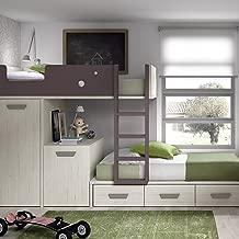 Meubles ROS Lit superposé avec Bureau Amovible, Armoire et 3 tiroirs - 181,1x329x103,4 cm - Chêne/Mûre